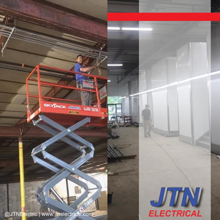 Progression pictures of a job in Pittsfield Massachusetts remodeling a 120,000 square foot building by JTNelectric